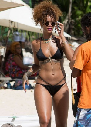 Rihanna in Black Bikini in Barbados