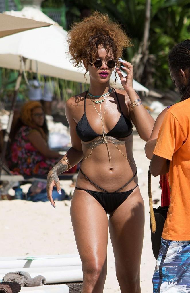 Rihanna in Black Bikini in Barbados