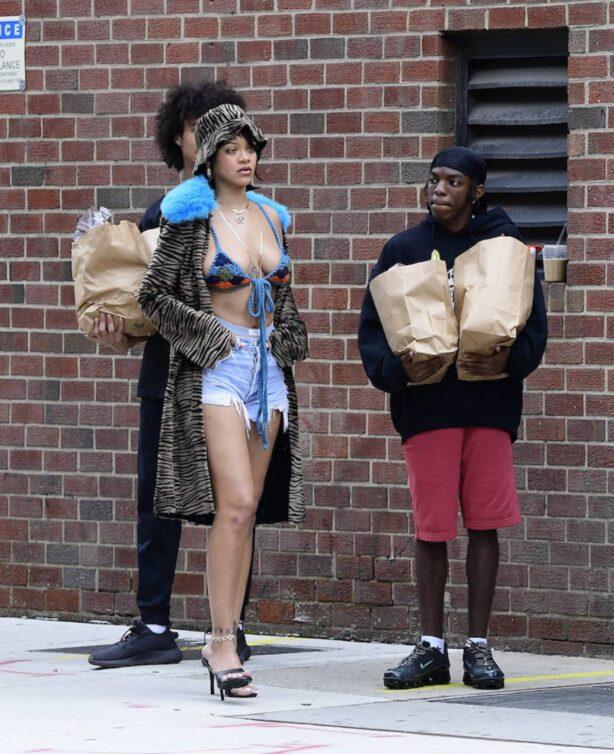 Rihanna - Wearing bikini top on photoshoot in the Bronx