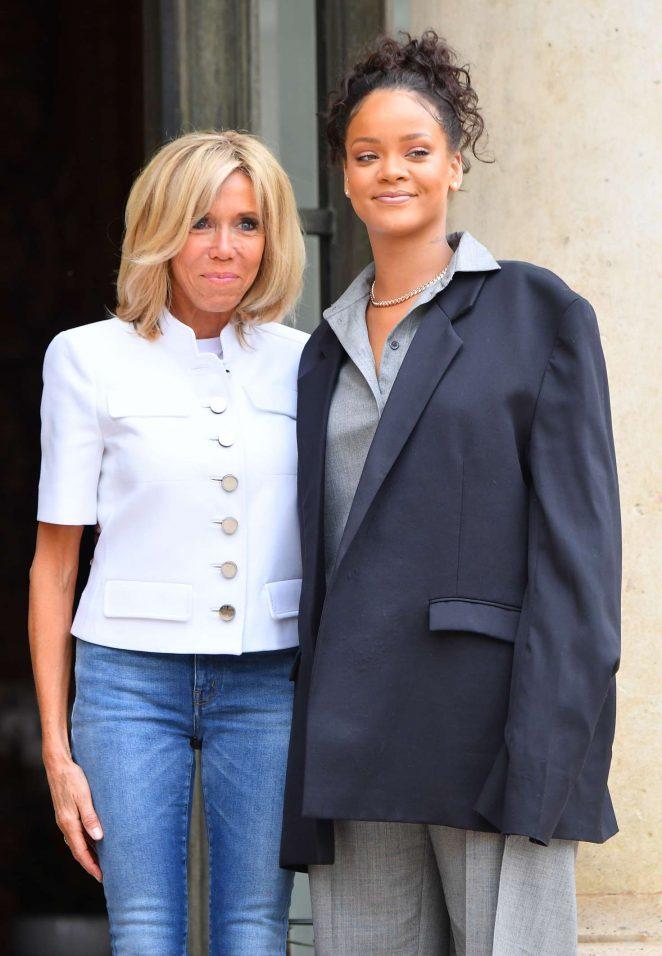 Rihanna with Brigitte Macron at the Elysee Palace in Paris