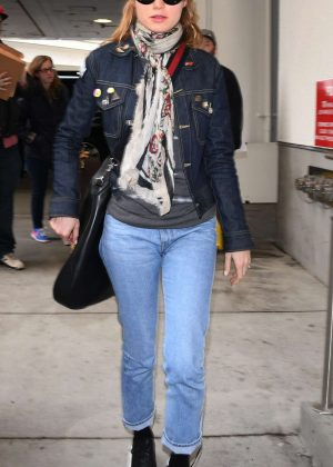 Riki Lindhome in Jeans at LAX Airport in LA