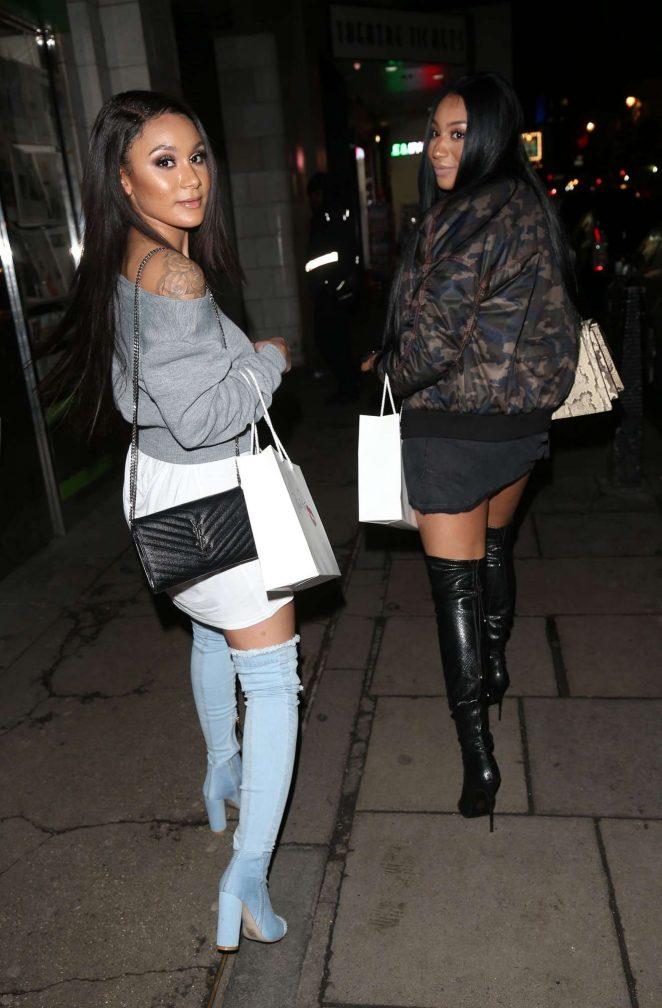 Rita Mahrez and Clarisse Juliette - Seen at DSTRKT nightclub in London