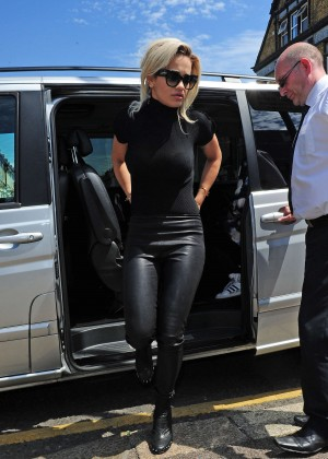 Rita Ora in Leather Arriving at a studio in London