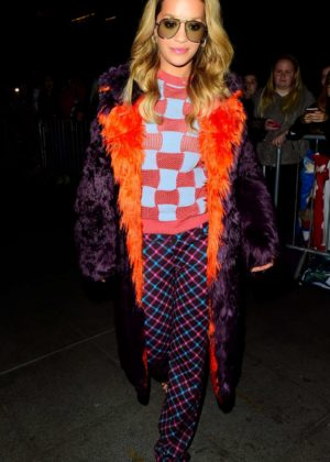 Rita Ora arriving at BBC Radio 1 studios in London
