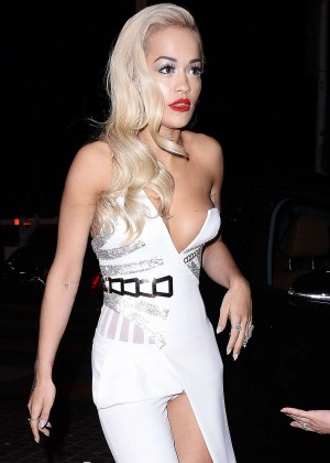 Rita Ora in White Dress out in Cannes