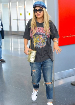 Rita Ora in Ripped Jeans at JFK Airport in NYC