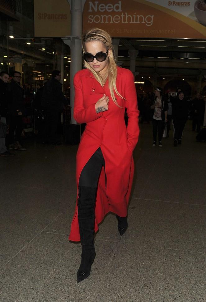 Rita Ora in Red Coat Arriving in London