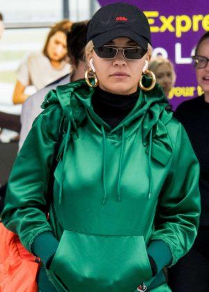 Rita Ora at Heathrow Airport in London
