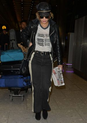 Rita Ora at Heathrow airport in London