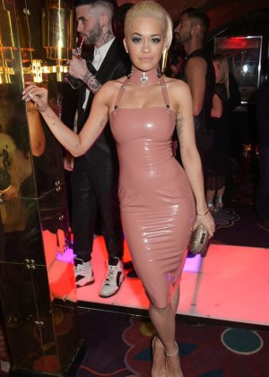 Rita Ora in Pink Leather Dress in London