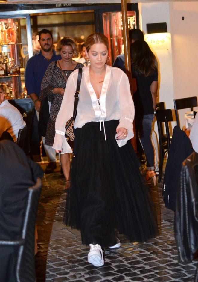 Rita Ora at Pierluigi Restaurant in Rome