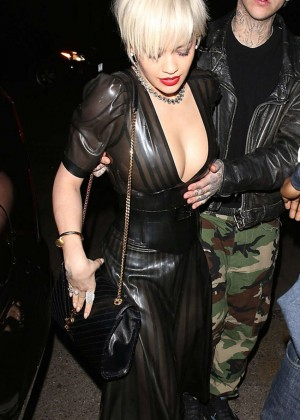 Rita Ora in Leather Dress at The Nice Guy in West Hollywood