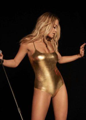 Rita Ora - Gold Swimsuit for Tezenis 2017