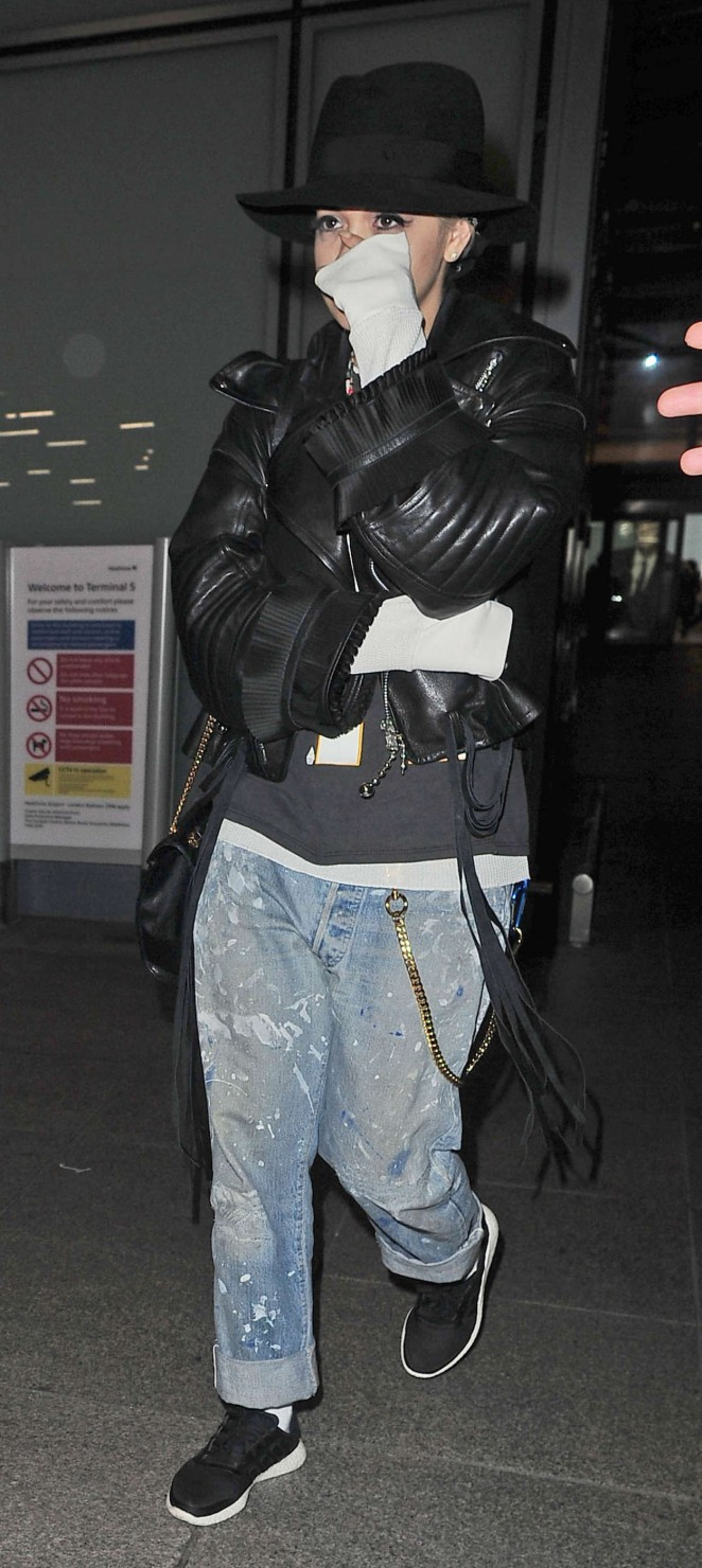 Rita Ora: Heathrow airport -01