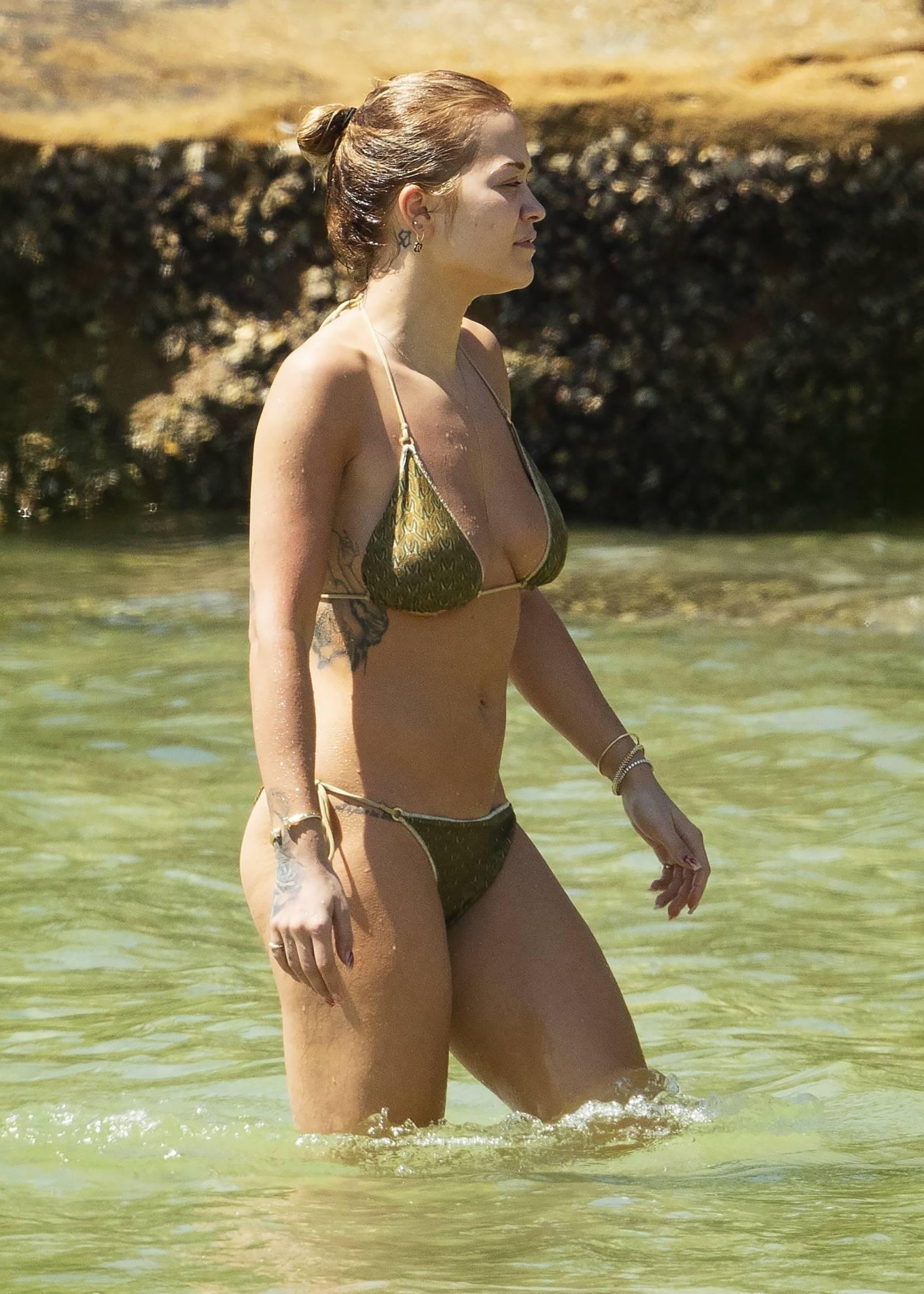 Rita Ora - In a bikini in Sydney Harbor with her sister