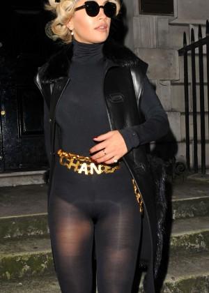 Rita Ora In a body stocking leaving a hotel in London