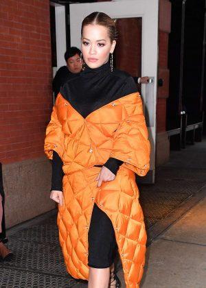 Rita Ora in a Orange Coat out in New York City