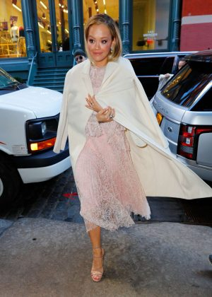 Rita Ora in a Rose Colored Dress out in New York City