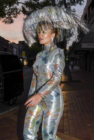 Rita Ora - In a silver patterned jumpsuit out in Sydney