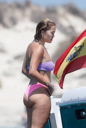 Rita Ora - In bikii relaxing on a boat in Ibiza
