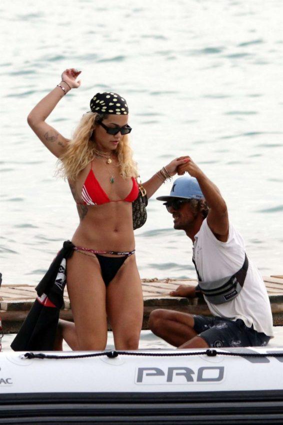 Rita Ora in Bikini on a boat in Ibiza