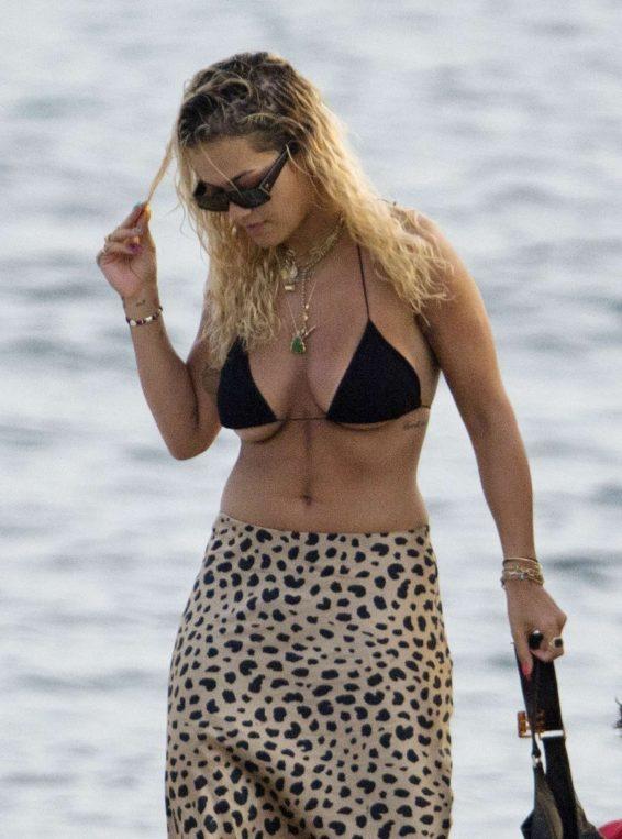 Rita Ora in Bikini Top in Ibiza
