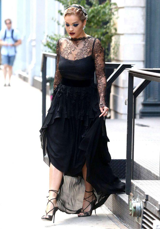 Rita Ora in Black Dress Leaving her Hotel in NYC