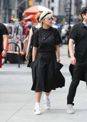 Rita Ora in Black Dress Out in Soho