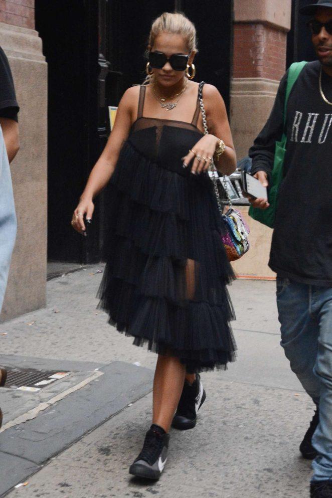 Rita Ora in Black Dress - Out in Soho