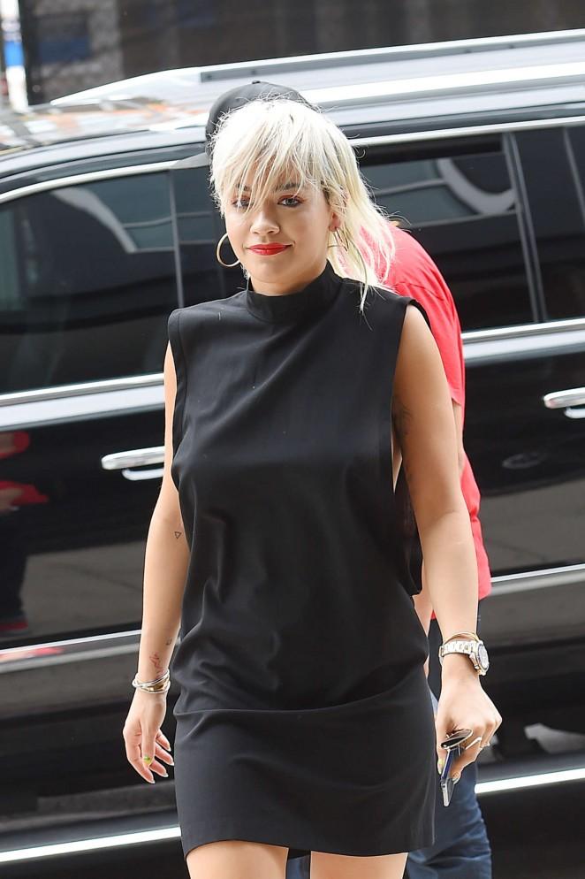Rita Ora in Black Mini Dress out in NYC