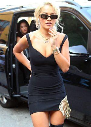 Rita Ora in Black Mini Dress - Out in Milan