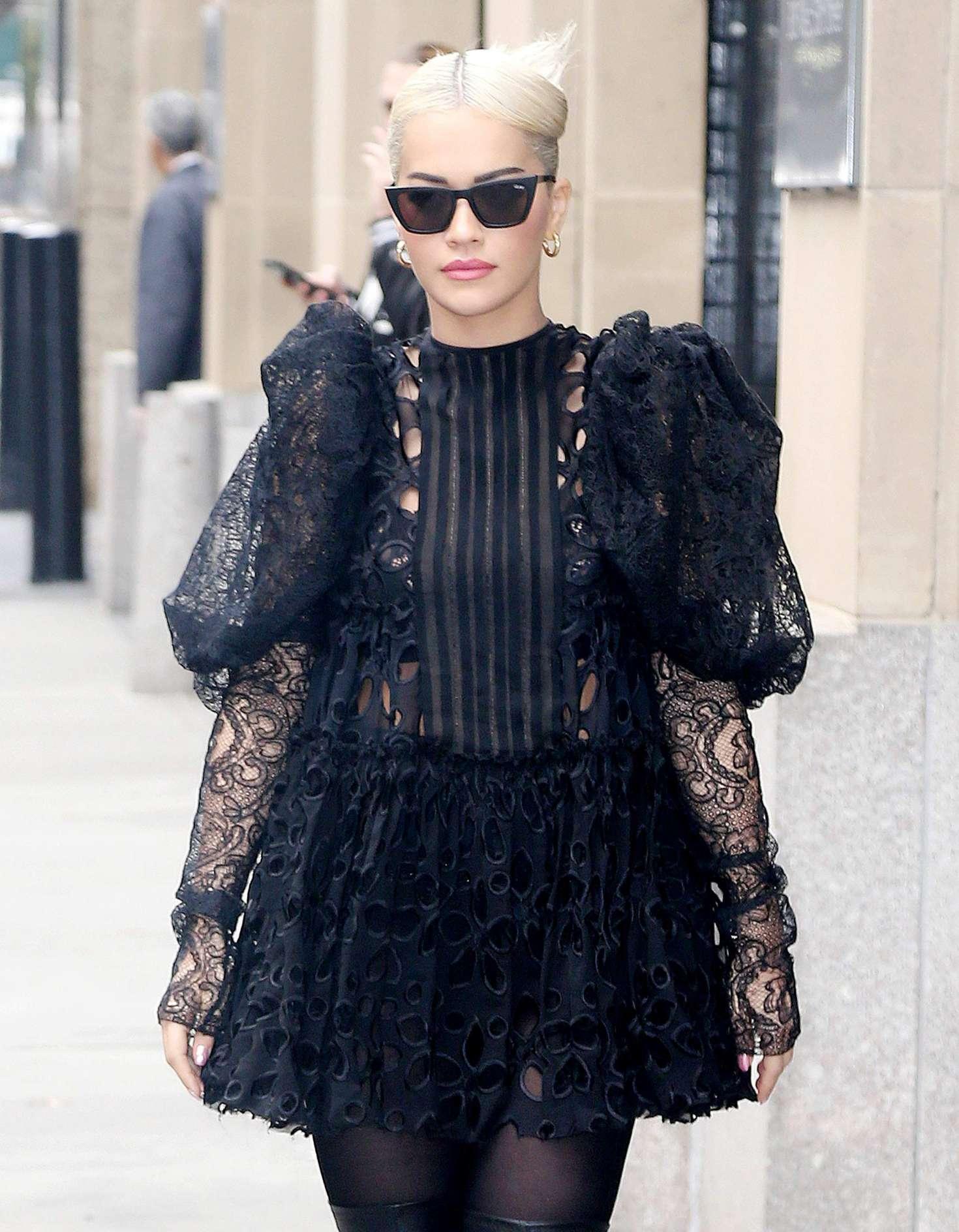 Rita Ora in Black Mini Dress - Out in New York