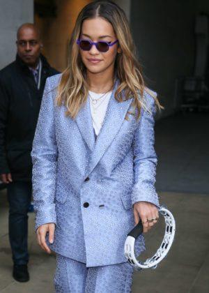 Rita Ora in Blue Suit at BBC Radio 1 in London