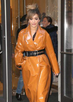 Rita Ora in Brown Coat out in New York City