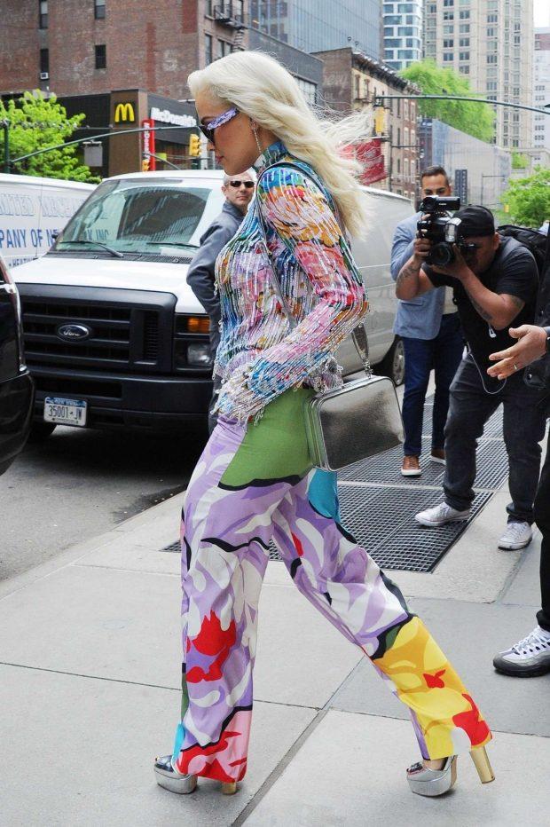 Rita Ora in Colorful Outfit -04