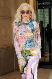Rita Ora in Colorful Outfit - Out in New York City