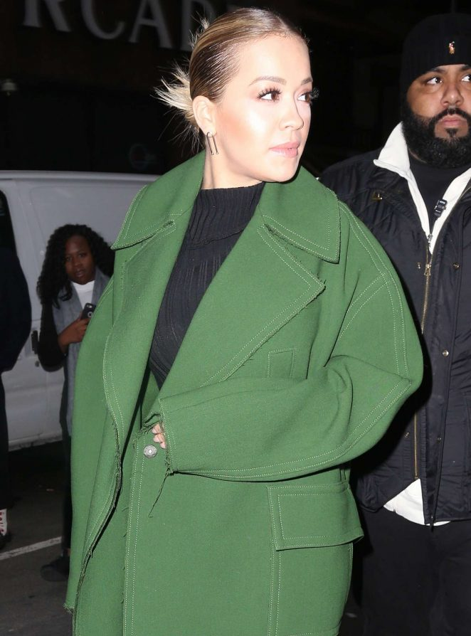 Rita Ora in Green Coat out in New York