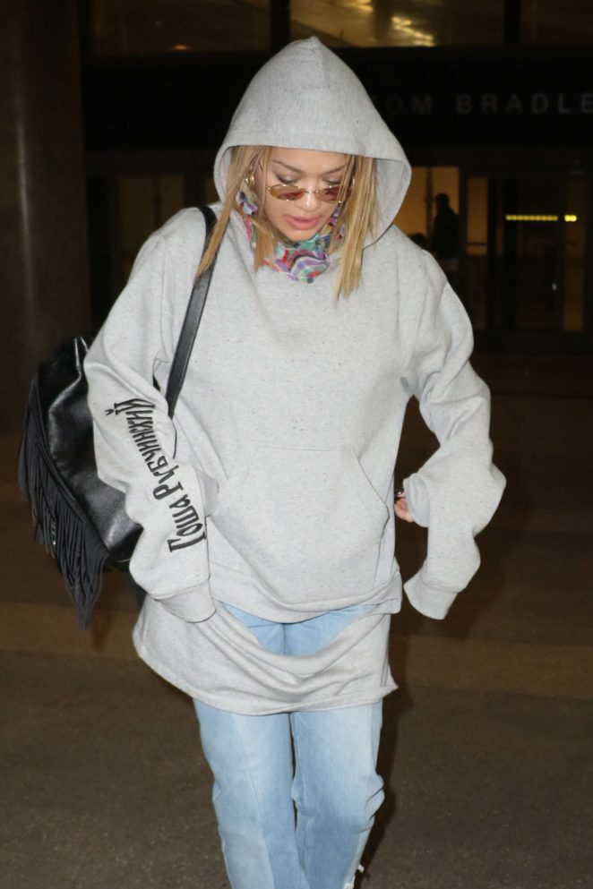 Rita Ora in Jeans at LAX Airport in Los Angeles