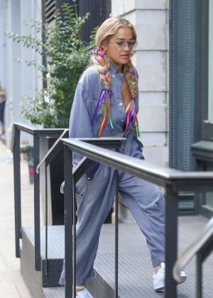Rita Ora in Jumpsuit out in New York