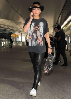 Rita Ora in Leather at Heathrow airport in London