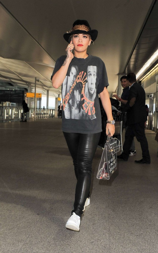 Rita Ora in Leather at Heathrow airport in London