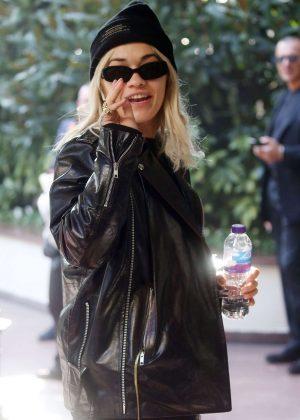 Rita Ora in Leather Jacket - Arriving in Milan