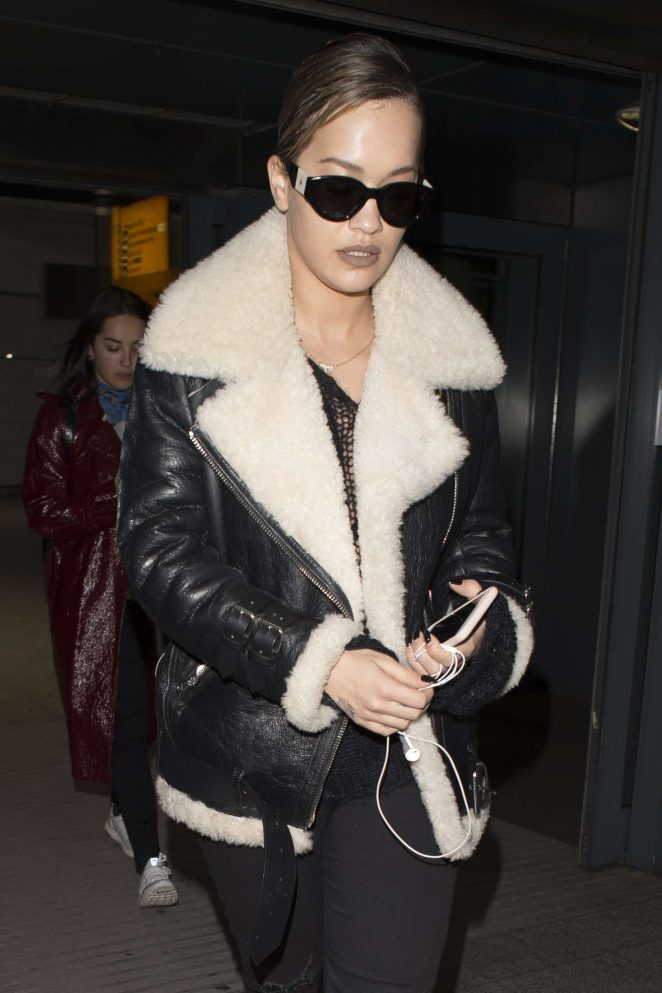 Rita Ora in Leather Jacket at Heathrow Airport in London