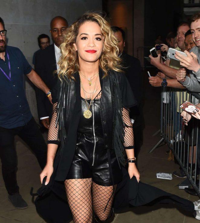 Rita Ora in Leather Playsuit Arrives in Glastonbury