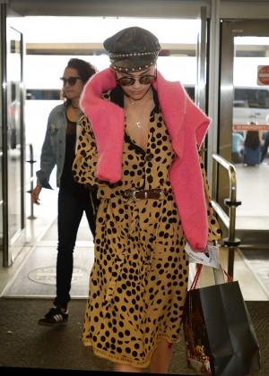 Rita Ora in Leopard Robe at Airport in Miami