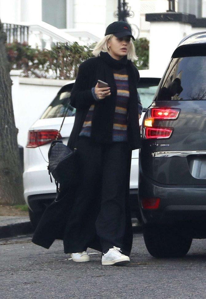 Rita Ora in Long Black Coat - Out in London