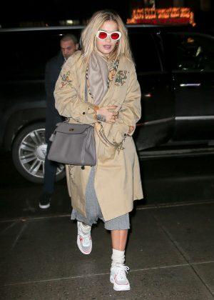 Rita Ora in Long Coat - Arriving at her hotel in NYC