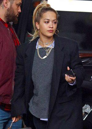 Rita Ora in Long Coat Shopping in NYC
