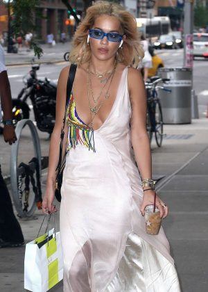 Rita Ora in Long Dress out in New York City
