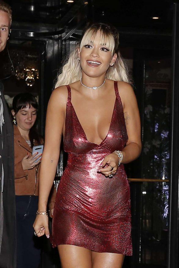 Rita Ora in Mini Dress - Leaving her hotel in Paris